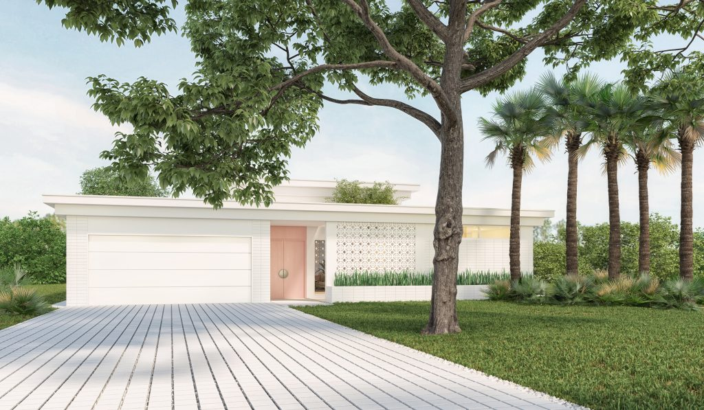 Front elevation rendering of Bamboo House, Wilton Manors