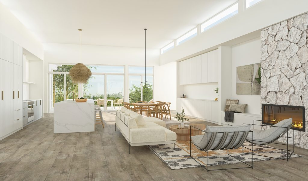 Rendering view of open concept living area from front entry