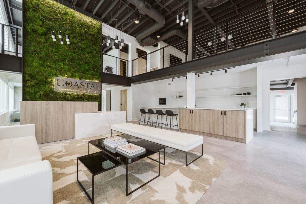 Studio 818 commercial design & redevelopment - Coastal Wealth building - client entry lobby